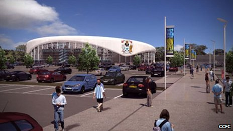 Street level view of the proposed CCFC stadium