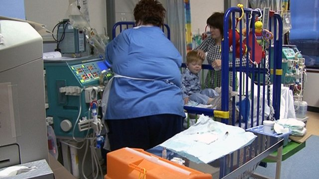 Boy receives dialysis