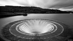 The overflow of Ladybower reservoir in the Peak District