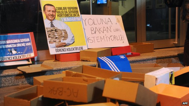 Shoe boxes thrown by protesters remain outside the entrance of a Halkbank bank branch in Istanbul during a demonstration march against corruption (19 December 2013)