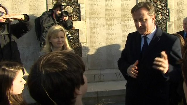 David Cameron and School Reporters from Richard Lander School at Tyne Cot Cemetery in Belgium