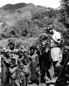 David Attenborough recording for Zoo Quest in central highlands of New Guinea