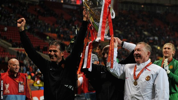 Carlos Queiroz and Sir Alex Ferguson hold aloft the Champions League trophy following Manchester United's win in 2008