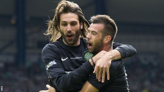 Georgios Samaras and Joe Ledley celebrate