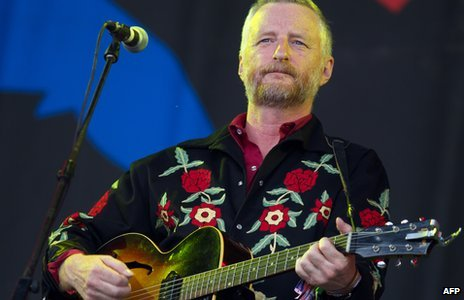 Billy Bragg performing at Glastonbury