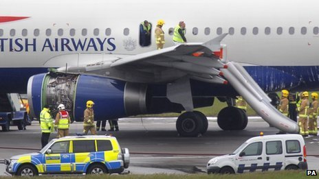 Emergency services attend plane