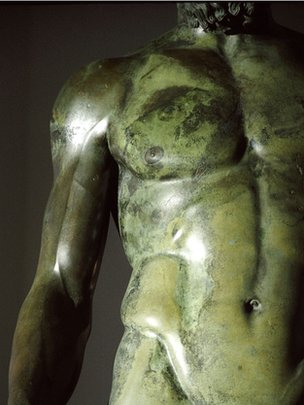 Chest area of one the Ancient Greek sculptures, known as the Riace Bronzes.