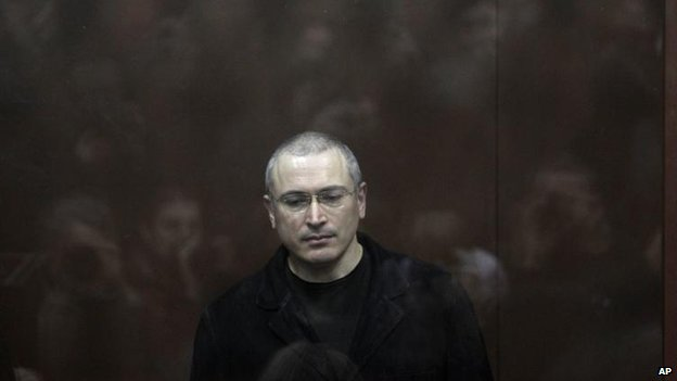 Mikhail Khodorkovsky behind glass in a Moscow courtroom, 27 December 2010