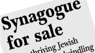Cutting from a newspaper reporting sale of Synagogue in Clarksdale