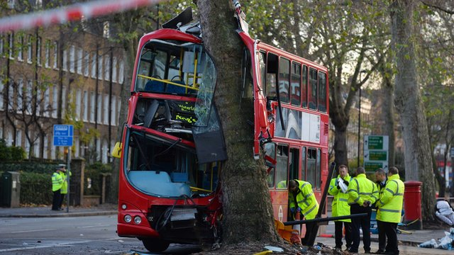 Emergency services personnel work at the scene of a bus crash in South London