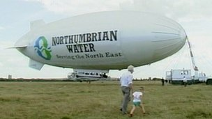 The Northumbrian Water blimp on Newcastle's Town Moor in 1989