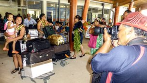 BV snaps arrivals at the airport