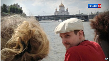 Edward Snowden on a boat during a trip on the Moscow River (Sept 2013)