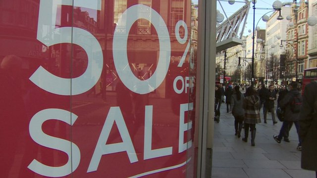 A 50% sale sign in London's Oxford st