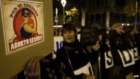 Pro-choice demonstration in Burgos, Spain. Photo: 20 December 2013