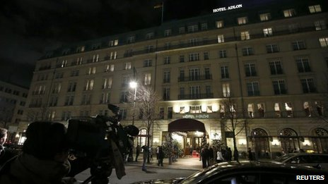 Media outside the Adlon hotel in Berlin, 20 Dec