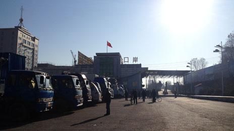 Lorries at cargo port