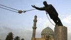 A statue of Saddam Hussein being toppled in Firdaus Square, in downtown Baghdad on April 9, 2003