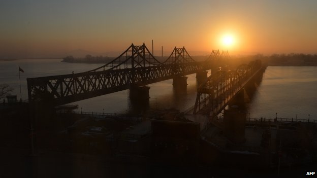 The Friendship Bridge, pictured in front of Dandong