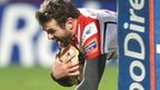Jared Payne goes over for his try against Zebre