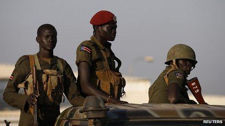 SPLA soldiers patrol Juba. 20 Dec 2013