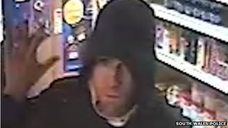 CCTV image of suspect in Cwmgors mini market raid