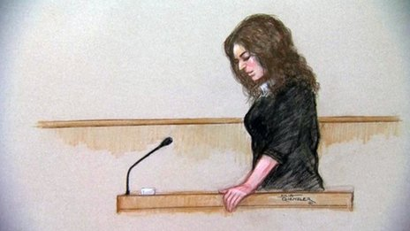 Court drawing of Nigella Lawson