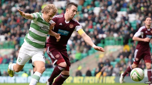 Celtic's Teemu Pukki and Hearts captain Danny Wilson tussle for possession