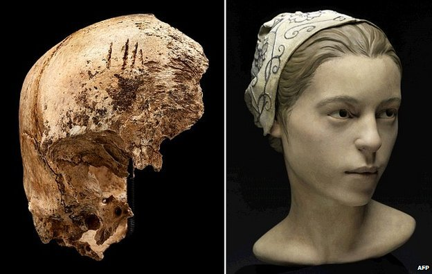Jamestown woman's skull and reconstruction