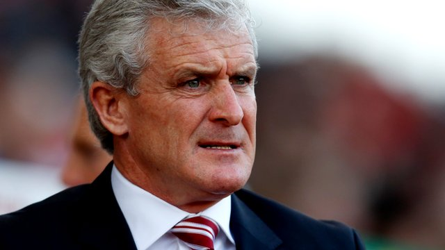 Stoke City manager Mark Hughes looks on during his side's 2-1 win over Aston Villa