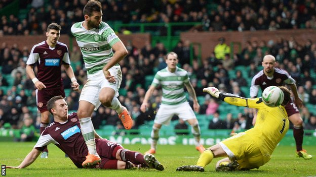 Celtic's Joe Ledley in action against Hearts