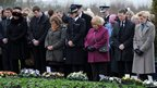 Gathering at memorial service in Dryfesdale cemetery