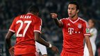 Thiago Alcantara of Bayern Munich celebrates with David Alaba after scoring his team's second goal during the Fifa Club World Cup Final against Raja Casablanca at Marrakech Stadium