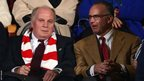 Uli Hoeness and Karl-Heinz Rummenigge of Bayern Munich are seen during the Fifa Club World Cup Final against Raja Casablanca at Marrakech Stadium
