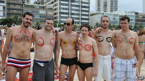 Men at Rio topless ban protest