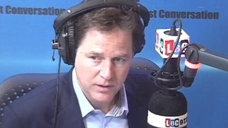 Nick Clegg on his LBC radio phone-in