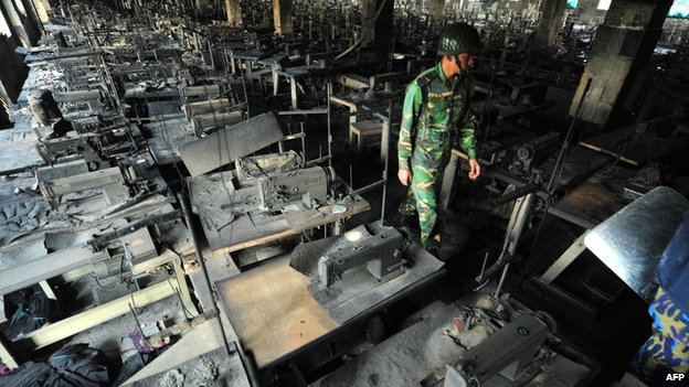 Burnt out remains of the Tazreen garment factory in Dhaka on 25 November 2012