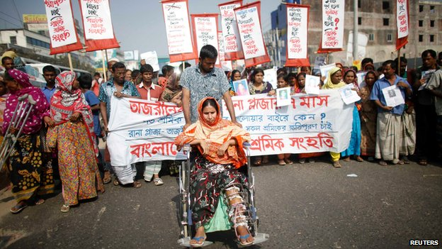 Garment workers protest in Savar, Dhaka, on 24 November 2013