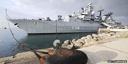 German frigate is moored in Djibouti port