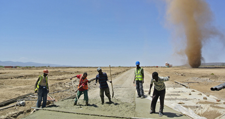 Workers build the new Ethiopia-Djibouti railway line