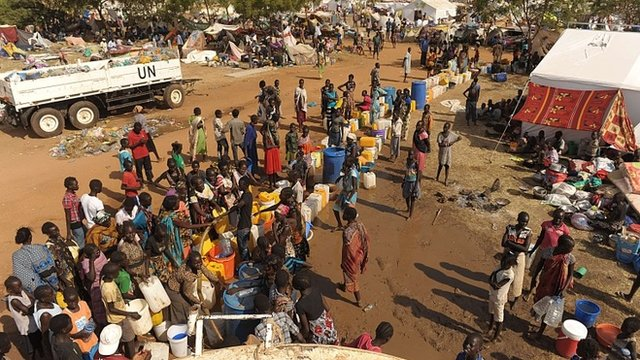 Refugees in a UN camp in Juba
