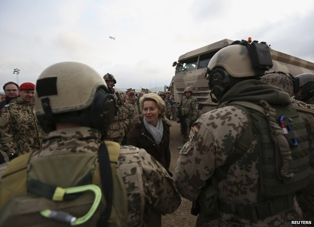 German Defence Minister Ursula von der Leyen meets troops in Mazar-e-Sharif, 22 December