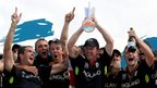 16 May 2010: Paul Collingwood of England celebrates with the series trophy after winning the final of the ICC World Twenty20 between Australia and England at the Kensington.
