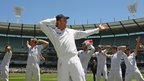 01 Jan 2011: Graeme Swann leads 'sprinkler' celebrations as England retain the Ashes.