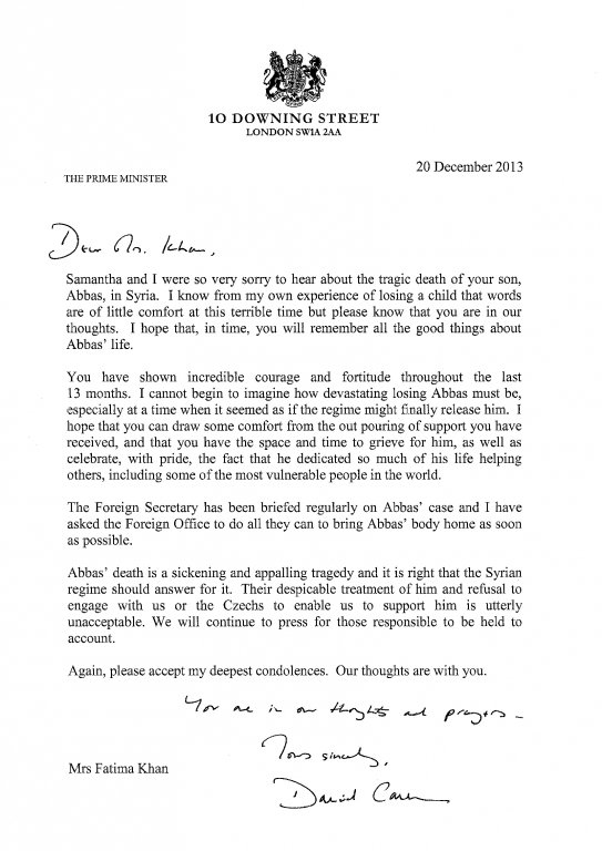 A letter from David Cameron to Fatima Khan