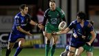 Newport Gwent Dragons forward Cory Hill offloads to Will Harries in their side's last minute defeat at Connacht