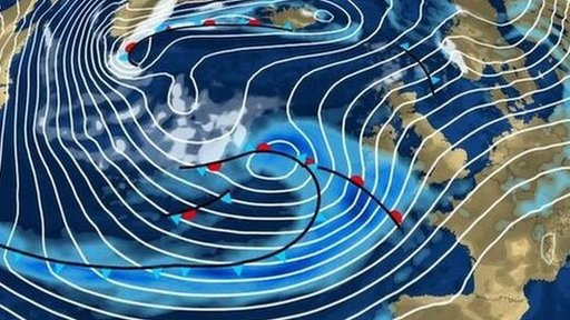 Weather graphic showing heavy rain and strong winds forecast to hit Britain