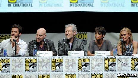 Hugh Jackman, Sir Patrick Stewart, Sir Ian McKellen, Halle Berry and Anna Paquin at Comic-Con in July 2013