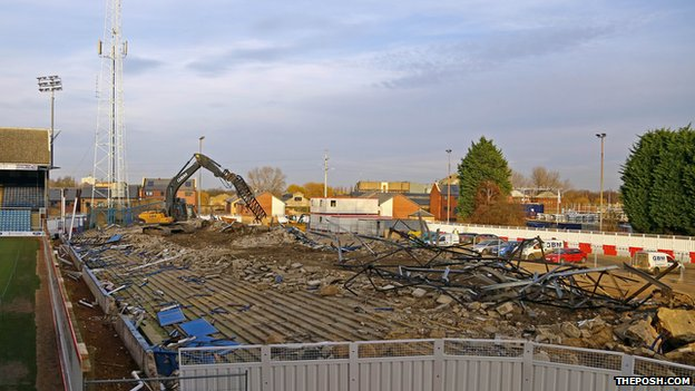 The demolished Moy's End stand at Peterborough United