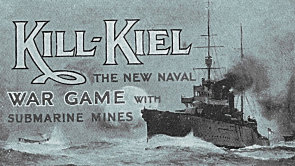 The front of the Dreadnought battleship inspired board game called, 'Kill Kiel'